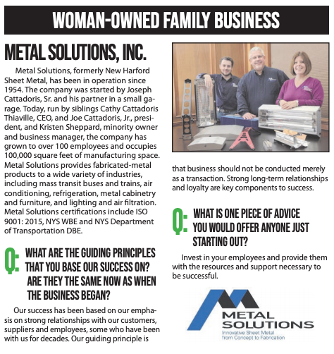 Metal Solutions Wins Family Business Award from CNY Business Journal